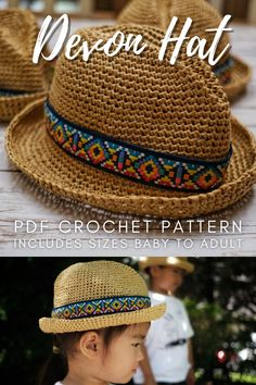Check out this amazing crochet pattern for this trendy summer hat! Download this easy crochet pattern to make this raffia hat, perfect summer sunhat for all ages: comes in sizes baby to adult! #CrochetPattern #CrochetHatPattern #CrochetRaffiaHat #CrochetSummerHat #SummerHatCrochetPattern #SunHatCrochetPattern #Yarn #Crafts #WarmLinX #CraftEvangelist Crochet Skirt Pattern, Easy Crochet Patterns, Crochet Ideas, Knit Crochet, Crochet Hats, Crochet Summer Hats, Raffia Hat, Summer Hats For Women, Head Accessories
