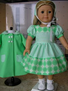 american girl doll dress made with the dirndl dress pattern from Bunnybear