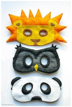 lion owl and panda masks