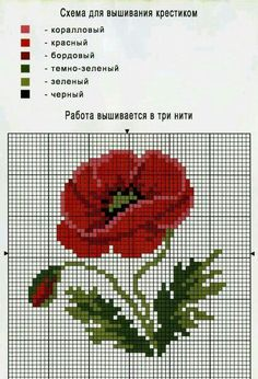Patterns for embroidery: poppies- Схемы для вышивки: маки Patterns for embroidery: poppies - Cross Stitching, Cross Stitch Embroidery, Embroidery Patterns, Cross Stitch Rose, Cross Stitch Flowers, Cross Stitch Designs, Cross Stitch Patterns, Pixel Crochet, Tapestry Crochet