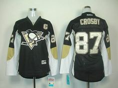 Penguins #87 Sidney Crosby Black Women's Home Stitched NHL Jersey