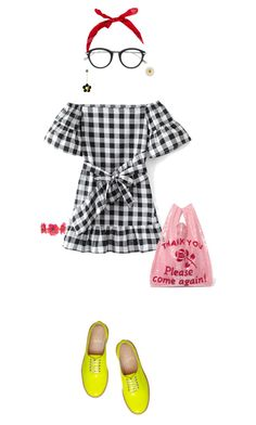 """""""Please come again"""" by merryl-key on Polyvore featuring WithChic, Christian Louboutin, Forest of Chintz, Tom Ford, Ashish, Spring, brogues, gingham and fluro"""