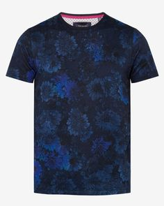Digital floral print cotton T-shirt - Navy | Tops & T-shirts | Ted Baker