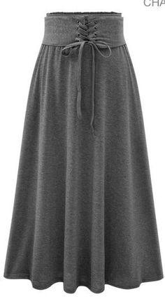 High Waist Draw String Slim Pleated Pure Color Long Skirt – Meet Yours Fashion -… Hohe Taille Draw String Slim Plissee Reine Farbe Langer Rock – Treffen Sie Ihre Mode – 4 Modest Fashion, Hijab Fashion, Fashion Dresses, Cheap Fashion, Womens Fashion, Fashion Trends, Lace Up Skirt, Dress Skirt, Pleated Skirt