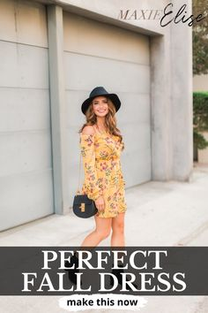 Click here to see THE PERFECT fall dress on Maxie Elise Blog! Super cute yellow dress outfit fall color combos. This is the best fall dresses to wear to a wedding autumn. Check out this adorable fall dresses with boots and tights work outfits. Stylish yellow dress outfit summer casual. Best fall dresses with boots casual simple. Most put together yellow dress outfit fall boots. Cute and pretty casual fall dresses to wear to a wedding simple. #fall #dress #autumn