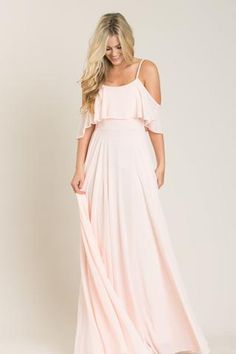 Adele Blush Ruffle Maxi Dress