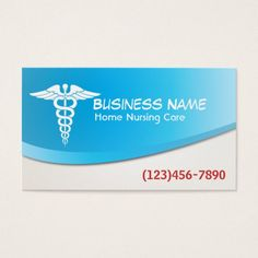 Modern Blue Home Nursing Care Business Card