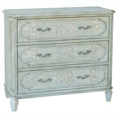 This hand painted distressed powder blue/green finish accent chest features three functional drawers for storage. The chest offers elegant antique pewter finished hardware