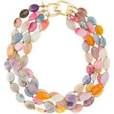 Kenneth Jay Lane Multi-color Glass Beaded Necklace (1,715 CNY) ❤ liked on Polyvore featuring jewelry, necklaces, accessories, multi, kenneth jay lane, multicolor jewelry, glass bead jewelry, strand necklace and tri color jewelry