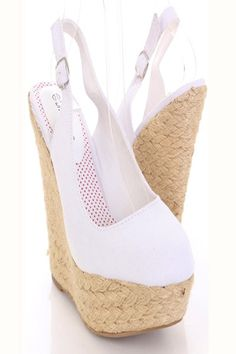 This is a very sexy wedges featuring canvas material, round closed toes, slingback buckle closure, cushioned footbed, woven espadrille base, and finished with rubber traction sole.  Approximately 1 3/4 inch platform and 5 3/4 inch wedge heels.