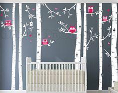 Owl and Birch Tree Wall Decal, Birch Tree Wall Decal with Owls, Birch and Owl Decal, Birch Decal for Baby Nursery, Kids, Children's Room 080