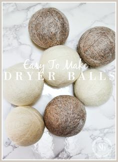 EASY TO MAKE DRYER BALLS- Make easy dryer balls that will help you save electricity, reduces static cling and wrinkles and more! Craft Tutorials, Craft Projects, Projects To Try, Craft Ideas, Project Ideas, Laundry Hacks, Laundry Rooms, Laundry Closet, Laundry Decor