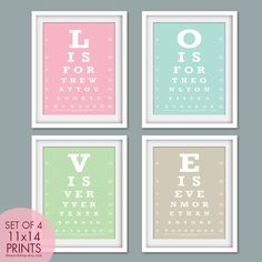 Nat King Cole's LOVE in 4 eye chart style prints. Want this for the bedroom!!