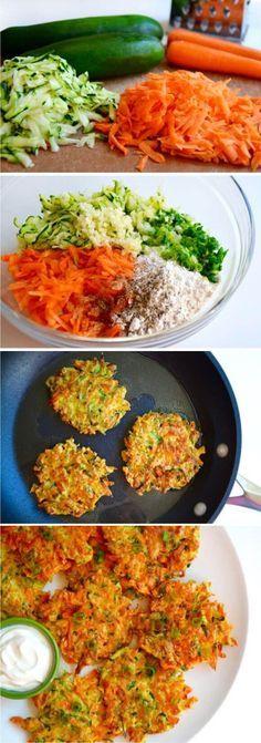 Quick and Crispy Vegetable Fritters recipe - Essen kochen und Rezepte Veggie Recipes, Baby Food Recipes, Vegetarian Recipes, Cooking Recipes, Healthy Recipes, Dishes Recipes, Recipies, Free Recipes, Soup Recipes