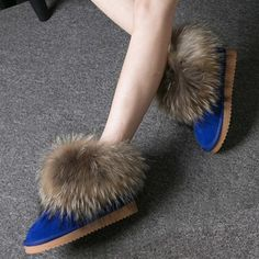 Women Boots Genuine Leather Real Fox Fur Brand Winter Shoes Warm Black Round Toe Casual Plus Size Female Snow Boots De Fur Ankle Boots, Ankle Heels, Women's Boots, Winter Heels, Doc Martens Boots, Snow Boots Women, Leather Heels, Cow Leather, Amigurumi