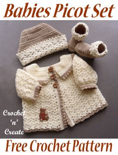 Crochet Babies Picot Set - This is the cutest little set and would make the perfect baby shower gift, consisting of a ski hat, sweater & booties, to fit a month baby. Scroll down the post to get the free baby crochet pattern in UK and USA fomat. Crochet Baby Sweater Pattern, Crochet Baby Sweaters, Baby Sweater Patterns, Baby Girl Crochet, Crochet Baby Clothes, Baby Blanket Crochet, Crochet For Kids, Baby Knitting Patterns, Baby Patterns