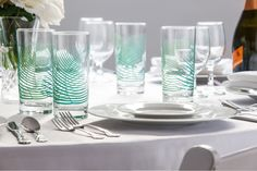 "Mary Elizabeth Arts""s silkscreen printed Green Ferns Glasses bring a little something extra to any table setting. USA made.Glasses are tall and hold Cocktail Glassware, Everyday Glasses, Subtle Textures, Drinking Glass, Kitchenware, Glass Vase, Mary Elizabeth, Table Settings, Ferns"