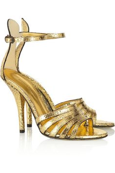 Covered heel measures 105mm/ 4 inches with a 10mm/ 0.5 inch platform Gold cracked-leather Open almond toe, distressed gold sole Buckle-fastening ankle strap