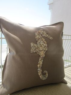 Stunning Seahorse Shell Pillow. $60.00, via Etsy.  saw this pillow in person,  it is beautiful!!