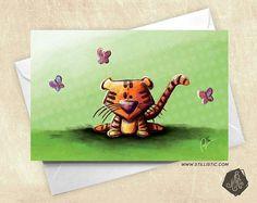 Carte de voeux Bébé Tigre et Papillons