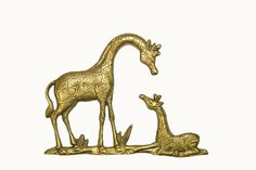 Brass Giraffe Wall Hanging Mother and Baby by JudysJunktion