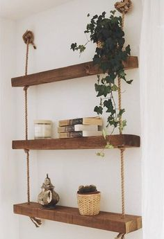 Estantería Makemba Hanging Rope Shelves, Greek Decor, Living Room Shelves, Pink Room, Space Saving Furniture, Wooden Decor, Cheap Home Decor, Decoration, Diy And Crafts