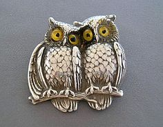RARE UNGER BROS STERLING ART NOUVEAU OWL PIN BROOCH