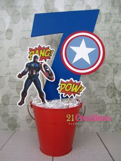 Captain America Centerpiece by 21Creations on Etsy, $20.00