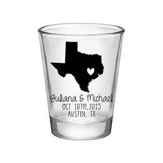 100x Custom State Map Wedding Shot Glasses by #BartenderWorks on #Etsy. Perfect Wedding Mementos to Remember Your Special Day! #Weddings #WeddingParty #WeddingFavors #Bride #Groom #TexasWedding #SickkJunctions