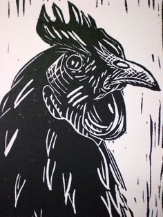 """Dark Rooster"" lino cut  http://www.etsy.com/shop/FinnGallery"