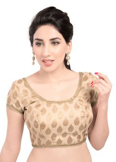 Traditional Gold Brocade Saree Blouse X-166 | Saris and Things