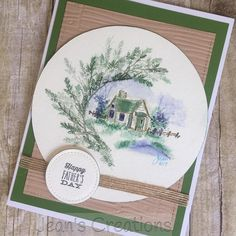 Art Impressions Wonderful Water Color... handmade watercolor Father's Day card. cabin, foliage