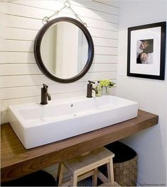 No room for a double sink vanity? Try a trough style sink with two faucets for a space-saving alternative. #bathroomsink