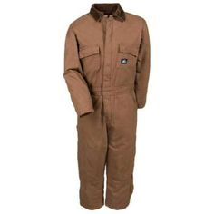 Polar King Coveralls: Boys' Cotton Duck Insulated Double Knee Coveralls 959 28 If you've got a little guy running around your home, you've seen your share of toys. The little plastic shaving kit, the colorful little toolbelt, it's all adorable. It's all made for play, but not function. Polar King 959 28 Youth Insulated Saddle Brown Duck Coveralls look like a much cuter version of the ones the big guy wears, but they're definitely made to be functional.