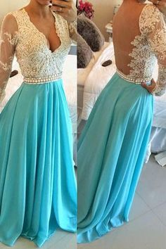 V-neck Chiffon Blue Backless Prom/Evening Dress With Long Sleeves