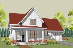 Simple farmhouse plan with wrap around porch