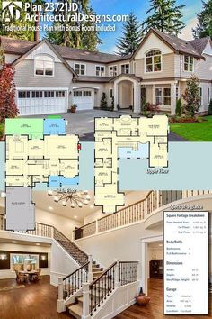 Architectural Designs House Plan 23721JD gives you 4 beds, 4 baths and just over 4,000 sq. ft. of heated living space. Lots of photos to enjoy! Ready when you are. Where do YOU want to build?