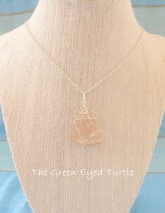 Wire Wrapped Pink Sea Glass Necklace by TheGreenEyedTurtle on Etsy, $20.00