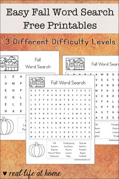 Fall Word Search, Thanksgiving Word Search, Kids Word Search, Thanksgiving Words, Free Printable Word Searches, Fall Words, Activity Sheets For Kids, Halloween Words, Autumn Activities For Kids