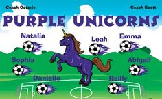 Unicorns-Purple-42256 digitally printed vinyl soccer sports team banner. Made in the USA and shipped fast by BannersUSA. www.bannersusa.com
