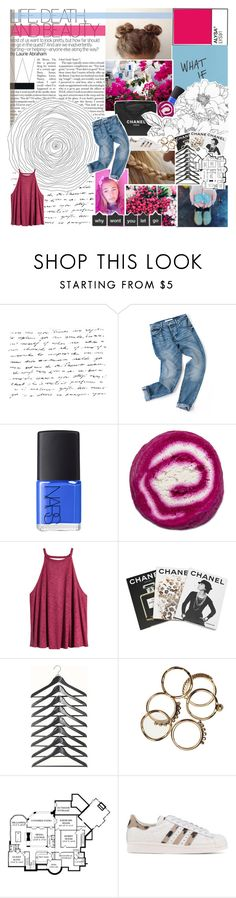 """""""damiah's set contest day 7"""" by endlxss-dreamz ❤ liked on Polyvore featuring Chanel, NARS Cosmetics, H&M, Assouline Publishing, adidas Originals, lilylove, lilianasfashion and damiahs7daycontest"""