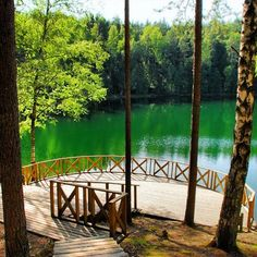 Velnezers or Devil's Lake. It is very beautiful, unusual color and located in the pine forest. Velnezers was taken for mysterious place for a long time. 64km from Rezekne