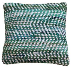 """""""Aqua Jewel"""" chindi rag rug cushion cover. Blue-greens tone in tone. Good karma for your home. Visit our webshop www.houseofdhurries.com - also available in carpet."""