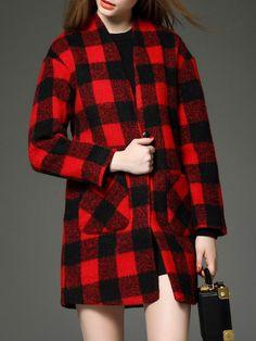 Pockets Plaid Wool Blend Coat