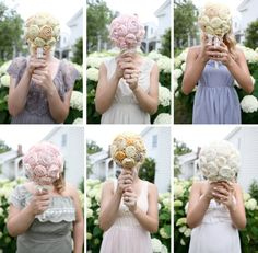 Fabric flower bouquets for bridesmaids that they create themselves from pre-chosen fabrics!