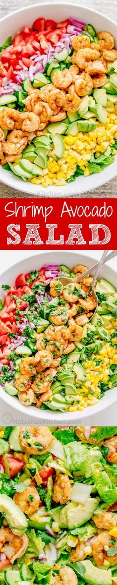 We could live off this shrimp avocado salad. It's crazy good and loaded with avocado, cucumbers, tomatoes, sweet corn and tossed with a light and easy cilantro-lemon dressing. This shrimp salad has all the best flavors of summer! WINNER!! | http://natashaskitchen.com Salad With Shrimp, Shrimp Salads, Shrimp Salad Recipes, Shrimp And Avacado Salad, Salad With Avocado, Dinner Salad Recipes, Cut Avocado, Chicken And Shrimp Recipes, Best Shrimp Recipes