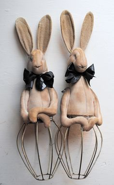 A pair of Hare Figures with bases made from Vintage lampshades.
