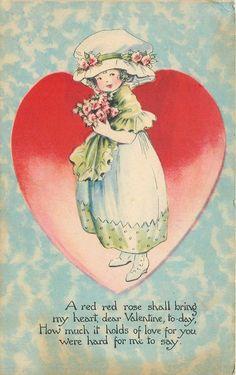 Valentine~ART DECO Girl on Red Heart~Bouffant Skirt~Shawl~Big Hat~Gibson Art '21