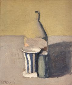 Natura morta (Still Life) 1960 Oil on canvas, x cm Morandi Italian Painters, Italian Artist, Painting Still Life, Paintings I Love, Painting Inspiration, Art History, Painting & Drawing, Bunt, Illustration