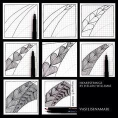 Heartstrings - Step by Step Zentangle Pattern Zentangle Drawings, Doodles Zentangles, Doodle Drawings, Doodle Art, Zantangle Art, Zen Art, Doodle Patterns, Zentangle Patterns, Tangle Doodle